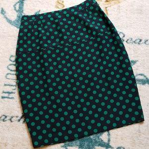 Fun Green Polka Dot Silk Pencil Skirt Size 12